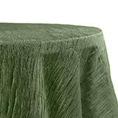 "Accordion Crushed Taffeta - 132"" Round Tablecloth - Willow Green"
