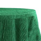 "Accordion Crushed Taffeta - 132"" Round Tablecloth - Emerald Green"