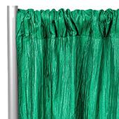 "Accordion Crushed Taffeta - 8ft Long x 54"" Wide Drape/Backdrop Panel - Emerald Green"