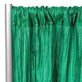 "Accordion Crushed Taffeta - 8ft Long x 54"" Wide Drape/Backdrop Panel - Emerald Green"