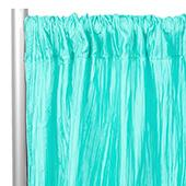 "Accordion Crushed Taffeta - 8ft Long x 54"" Wide Drape/Backdrop Panel - Turquoise"