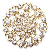 DecoStar™ JUMBO Round Ornate Diamond-Studded Brooch in Gold