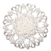 DecoStar™ JUMBO Round Ornate Pearl-Studded Brooch in Silver