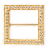 "DecoStar™ Diamond-Studded 2"" Square Decorative Buckle in Gold"