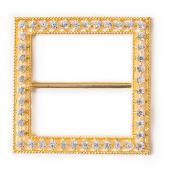 "DecoStar™ Diamond-Studded 2"" Square Decorative Buckle in Gold"