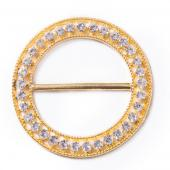 DecoStar™ Large Ornate Diamond Circle Decorative Buckle in Gold
