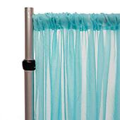 """Crushed Sheer Voile Curtain Panel  w/ 4"""" Pockets by Eastern Mills - 10ft Wide - Angel Blue"""