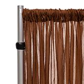 """*FR* Crushed Sheer Voile Curtain Panel by Eastern Mills w/ 4"""" Pockets - 10ft Wide - Brown"""