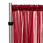 """*FR* Crushed Sheer Voile Curtain Panel by Eastern Mills w/ 4"""" Pockets - 10ft Wide - Burgundy"""