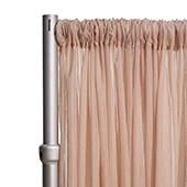 """*FR* Crushed Sheer Voile Curtain Panel by Eastern Mills w/ 4"""" Pockets - 10ft Wide - Dark Blush"""