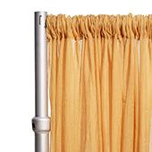 """Crushed Sheer Voile Curtain Panel  w/ 4"""" Pockets by Eastern Mills - 10ft Wide - Gold"""