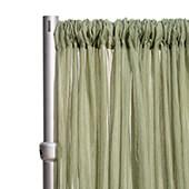 """*FR* Crushed Sheer Voile Curtain Panel by Eastern Mills w/ 4"""" Pockets - 10ft Wide - Moss"""