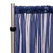 """Crushed Sheer Voile Curtain Panel w/ 4"""" Pockets by Eastern Mills - 10ft Wide - Navy Blue"""