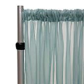 """Crushed Sheer Voile Curtain Panel w/ 4"""" Pockets by Eastern Mills - 10ft Wide - Ocean"""