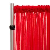 """*FR* Crushed Sheer Voile Curtain Panel by Eastern Mills w/ 4"""" Pockets - 10ft Wide - Red"""
