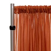 """*FR* Crushed Sheer Voile Curtain Panel by Eastern Mills w/ 4"""" Pockets - 10ft Wide - Rust"""