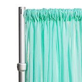 """*FR* Crushed Sheer Voile Curtain Panel by Eastern Mills w/ 4"""" Pockets - 10ft Wide - Seafoam Green"""