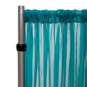 """*FR* Crushed Sheer Voile Curtain Panel by Eastern Mills w/ 4"""" Pockets - 10ft Wide - Teal Blue"""