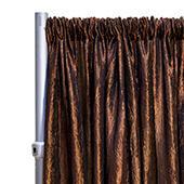"*FR* Crushed Taffeta Drape Panel by Eastern Mills 9 1/2 FT Wide w/ 4"" Sewn Rod Pocket - Brown"