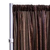 "*FR* Crushed Taffeta Drape Panel by Eastern Mills 9 1/2 FT Wide w/ 4"" Sewn Rod Pocket - Chocolate Brown"
