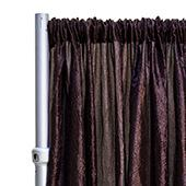 "*FR* Crushed Taffeta Drape Panel by Eastern Mills 9 1/2 FT Wide w/ 4"" Sewn Rod Pocket - Dark Brown"