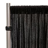 Fire Retardant Economy Panne Stretch Velvet Drape w/ Sewn Rod Pocket - Black
