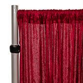 Fire Retardant Economy Panne Stretch Velvet Drape w/ Sewn Rod Pocket - Burgundy