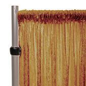 Fire Retardant Economy Panne Stretch Velvet Drape w/ Sewn Rod Pocket - Gold