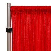 Fire Retardant Economy Panne Stretch Velvet Drape w/ Sewn Rod Pocket - Red