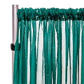 """*FR* Crushed Sheer Voile Curtain Panel by Eastern Mills  w/ 4"""" Pockets - 10ft Wide - Emerald"""
