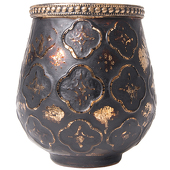 "DecoStar™ Antiqued Black & Gold Moroccan Glass Candle Holder - 4.3"" - 6 PACK"
