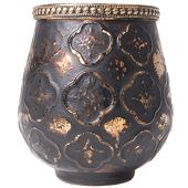DecoStar™ Antiqued Black & Gold Moroccan Glass Candle Holder - 4.3