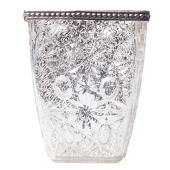 "DecoStar™ Square Glass w/ Antiqued Black Metal Trim Candle Holder - 4.3"" - 6 PACK"