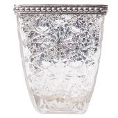 DecoStar™ Square Glass w/ Antiqued Black Metal Trim Vase/Candle Holder - 5