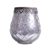 DecoStar™ Diamond Design Mirrored Glass w/ Antiqued Black Metal Trim Candle Holder - 4