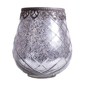 DecoStar™ Diamond Design Mirrored Glass w/ Antiqued Black Metal Trim Candle Holder - 5.5