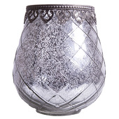 DecoStar™ Diamond Design Mirrored Glass w/ Antiqued Black Metal Trim Vase/Candle Holder - 7.3