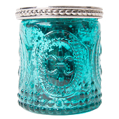 "DecoStar™ Glass Candle Holder w/ Metal Trim- 2.7"" - 6 PACK - Teal"