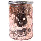 DecoStar™ Glass Candle Holder w/ Metal Trim- 4