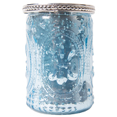 "DecoStar™ Glass Candle Holder w/ Metal Trim- 4"" - 6 PACK - Blue"