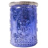 "DecoStar™ Glass Candle Holder w/ Metal Trim- 4"" - 6 PACK - Purple"
