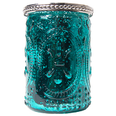 "DecoStar™ Glass Candle Holder w/ Metal Trim- 4"" - 6 PACK - Teal"