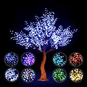 Lighted Cherry Blossom LED Tree - AC Adapter - 1200 LEDs - RGBW w/ Remote & Many Functions! - 9FT Tall