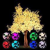 Lighted Ginkgo LED Tree - AC Adapter - 1632 LEDs - RGBW w/ Remote & Many Functions! - 9FT Tall