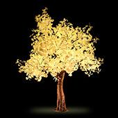 Lighted Ginkgo LED Tree - AC Adapter - 1632 LEDs - Warm White - 9FT Tall