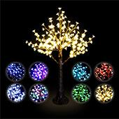 Lighted Tabletop Centerpiece Cherry Blossom LED Tree - Rechargeable Battery - 160 LEDs - RGBW w/ Remote & Many Functions! - 4.5ft Tall