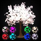 Lighted Grand Centerpiece or Floor Ginkgo LED Tree - AC Adapter - 480 LEDs - RGBW w/ Remote & Many Functions! - 5FT Tall