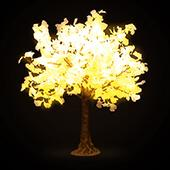 Lighted Grand Centerpiece or Floor Ginkgo LED Tree - AC Adapter - 480 LEDs - Warm White - 5FT Tall