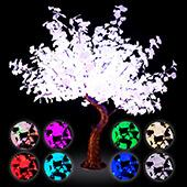 Lighted Grand Centerpiece or Floor Ginkgo LED Tree - AC Adapter - 700 LEDs - RGBW w/ Remote & Many Functions! - 6.5FT Tall