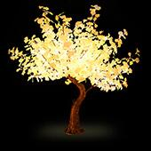 Lighted Grand Centerpiece or Floor Ginkgo LED Tree - AC Adapter - 672 LEDs - Warm White- 6.5FT Tall